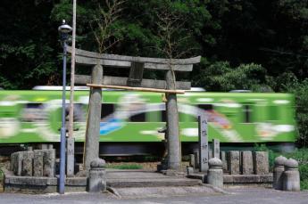 在神社內行走的電車